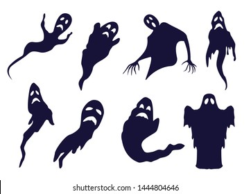 Spooky ghost silhouettes for halloween designs. Monochrome set of hand-drawn outline spooks and spirits.