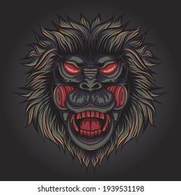 spooky gorilla head illustration. perfect for gorilla head illustration