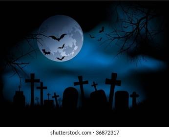 Spooky graveyard scene