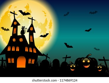 Spooky Halloween background with pumpkins and black cat, stock vector