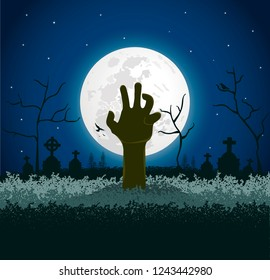 Spooky Halloween Background, with Zombie hand