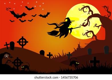 Spooky halloween backgrounds, orange horror background. Celebration theme