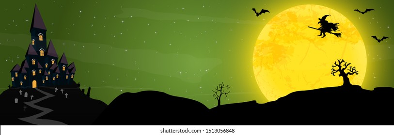 spooky halloween castle with grave stones and a witch in front of an yellow full moon with bats