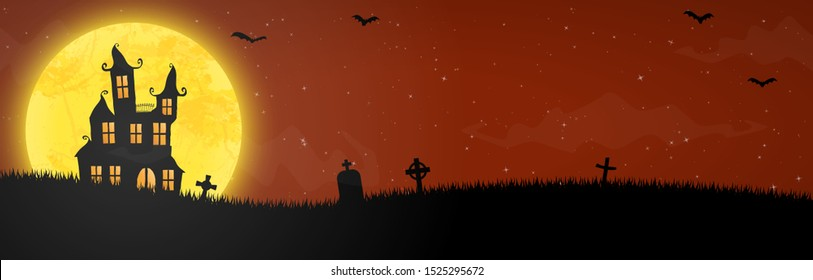 spooky halloween castle with grave stones in front of an yellow full moon with bats