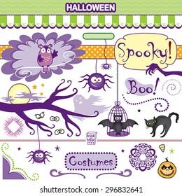 Spooky Halloween Collection Vector Art Set Bat Cat Spiders Owl