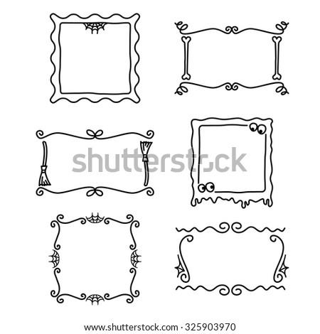 Spooky Halloween Doodle Frames Stock Vector (Royalty Free) 325903970 ...