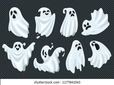 Spooky halloween ghost. Fly phantom spirit with scary face. Ghostly apparition dead ghoul boohoo cute face or whisper in white fabric, haunting humor holiday vector illustration cartoon symbol set