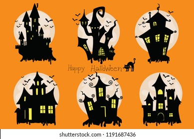 Spooky halloween house vector design
