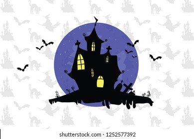 Spooky halloween house vector design
