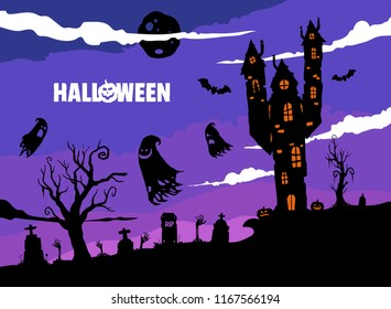 Spooky Halloween illustration with old house , ghosts and graveyard silhouettes at night