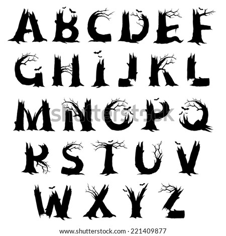 spooky halloween letter designs black silhouette stock vector