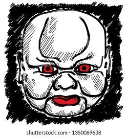 A spooky Halloween mask of a bald boy. Hand drawn vector illustration.