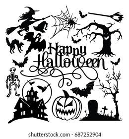 Spooky Halloween Paper Cut Silhouette Set
