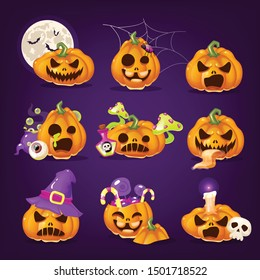 Spooky Halloween pumpkins cartoon vector illustrations set. Creepy carved squash with evil smiles isolated stickers pack on purple. Realistic orange scary pumpkins, Helloween horror decor patches