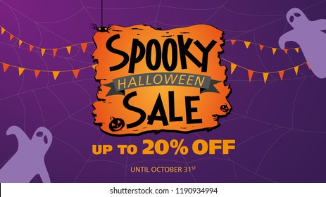 Spooky halloween sale up to 20% - purple vector template for social media or store banner