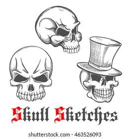 Spooky halloween skulls engraving sketches of gentleman skull in vintage top hat and monsters skeletons with sharp teeth. Use as tattoo, halloween mascot or t-shirt print design