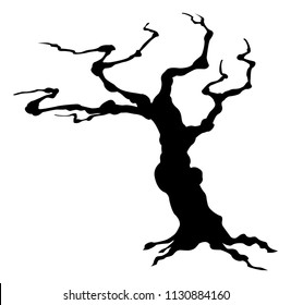 A spooky Halloween tree in silhouette