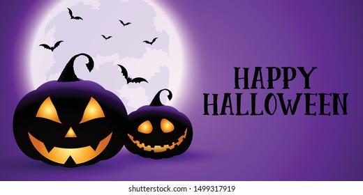 Spooky Hallowen banner with pumpkins, moon and bats