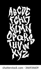 Spooky hand lettering font. Vector alphabet