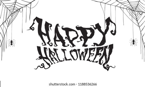 Spooky happy halloween text with spider web isolated on white background. scary, haunted and creepy hand lettering for party invitation, greeting card, banner
