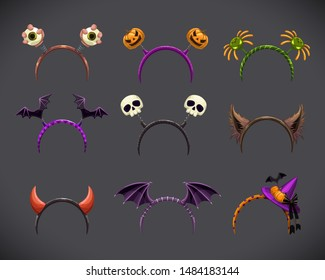 Spooky head bands collection. Hallowine costume element. Vector illustration.