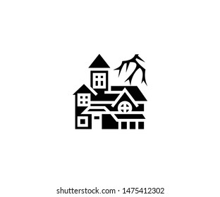 Spooky house vector isolated flat illustration. Spooky house icon