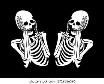 spooky illustration with two screaming skeletons