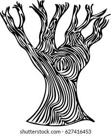 A spooky line art tree