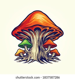 Spooky Nature Fungus Plant Mushrooms vector illustrations for your work merchandise clothing line, stickers and poster,