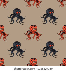 Spooky octupus robot seamless pattern. Original design for print or digital media.