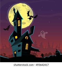 Spooky old ghost house. Halloween card or poster. Vector illustration