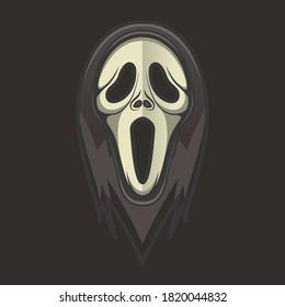 Spooky scream mask vector on black background