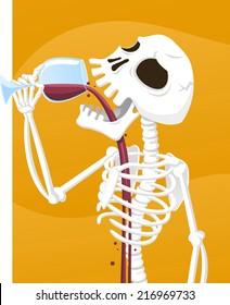 Spooky skeleton drinking wine cartoon illustration