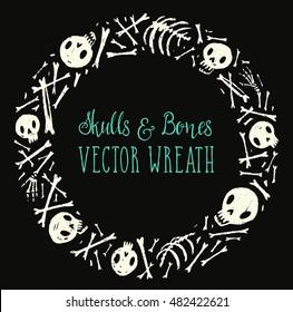 Spooky skulls and bones circle wreath. Halloween hand-drawn decoration. Vector illustration.
