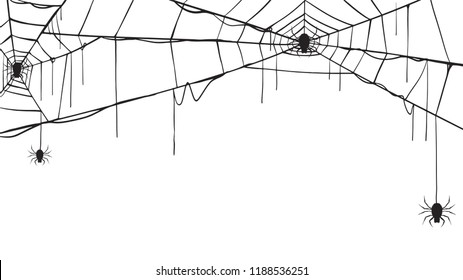 Spooky spider web silhouette collection of Halloween vector isolated on white background. scary, haunted and creepy cobweb element