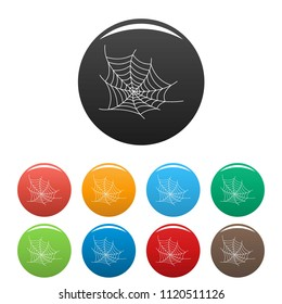 Spooky spiderweb icon. Outline illustration of spooky spiderweb vector icons set color isolated on white