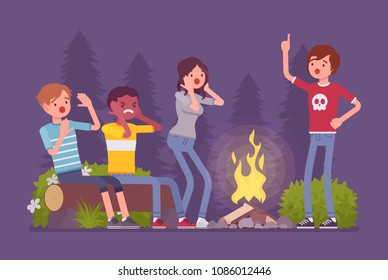Spooky story near campfire fun. Teens tell in the dark sinister or ghostly tale about creepy horrors, frightened and nervous friends camping at night near fire. Vector flat style cartoon illustration
