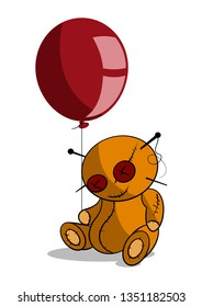 Spooky voodoo doll holding a red balloon