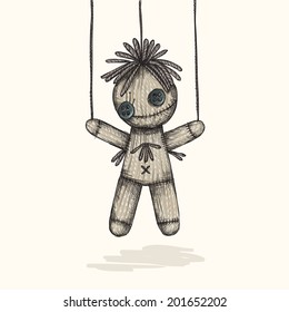 Spooky Voodoo Doll In A Sketch Style, Eps 10 Vector Illustration