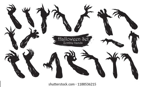 Spooky zombie hands silhouette collection of Halloween vector isolated on white background. scary, haunted and creepy arm element