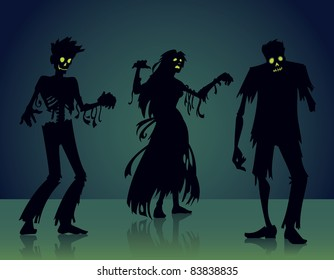 Spooky Zombie Silhouette Cartoon Halloween Vector Graphic Illustrations