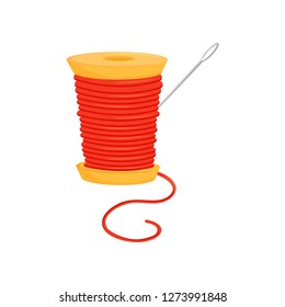 Spool of bright red threads and silver needle. Sewing accessories. Dressmaking theme. Flat vector icon