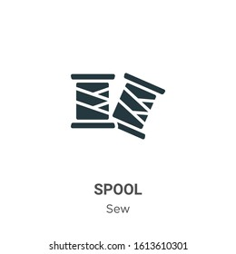 Spool glyph icon vector on white background. Flat vector spool icon symbol sign from modern sew collection for mobile concept and web apps design.