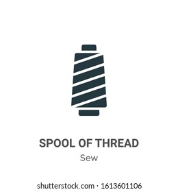 Spool of thread glyph icon vector on white background. Flat vector spool of thread icon symbol sign from modern sew collection for mobile concept and web apps design.
