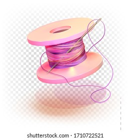 Spool of thread and needle. 3d vector illustration of multi-colored color isolated on a white transparent background. The concept of a seamstress, couturier, fashion designer.
