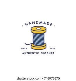 Spool of threads icon. Vector isolated symbol of tailor tools for handmade clothing store or atelier tailoring salon