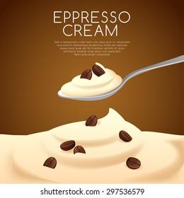 A Spoon of Espresso Cream : Vector Illustration