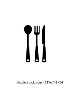 spoon and fork black web icon flat on white background vector