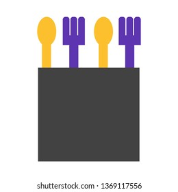 Spoon, Fork, Cutlery Flat Style Icon Vector - Vector