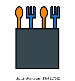 Spoon, Fork, Cutlery Outline Filled Style Icon Vector - Vector